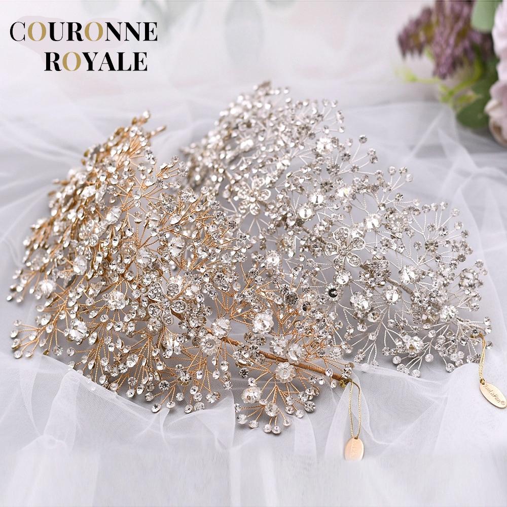 couronne de fleurs strass argent