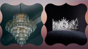 lustre cristal luxe et couronne argent