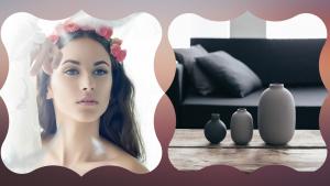 couronne de fleurs et vase de luxe