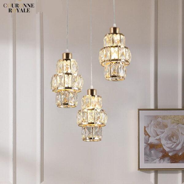 Lampe suspendue en cristal et or